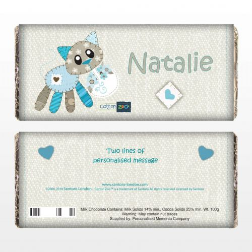 Personalised Cotton Zoo Calico the Kitten Chocolate Bar